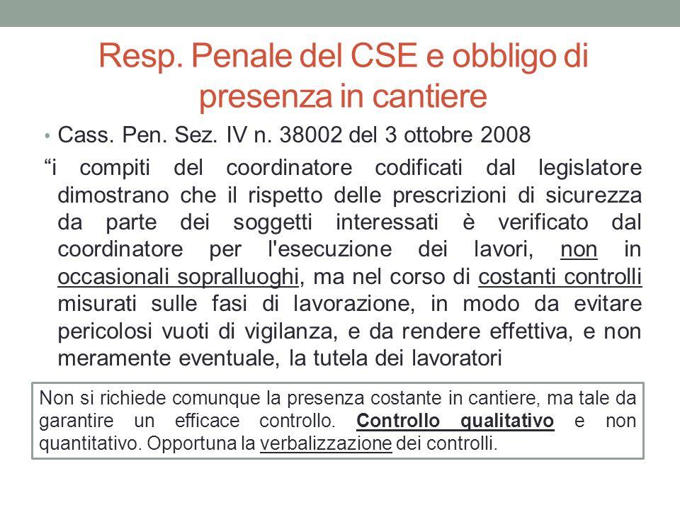 Resp. Penale del CSE e obbligo di presenza in cantiere
