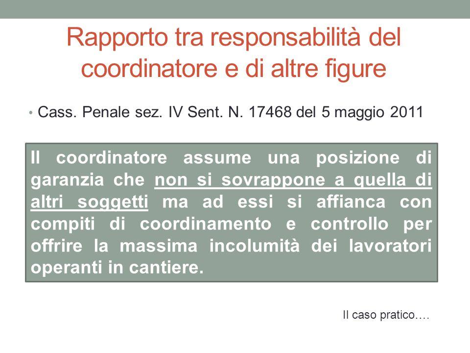 Rapporto tra responsabilità del coordinatore e di altre figure