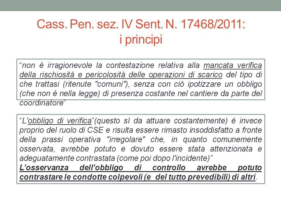 Cass. Pen. sez. IV Sent. N. 17468/2011: i principi