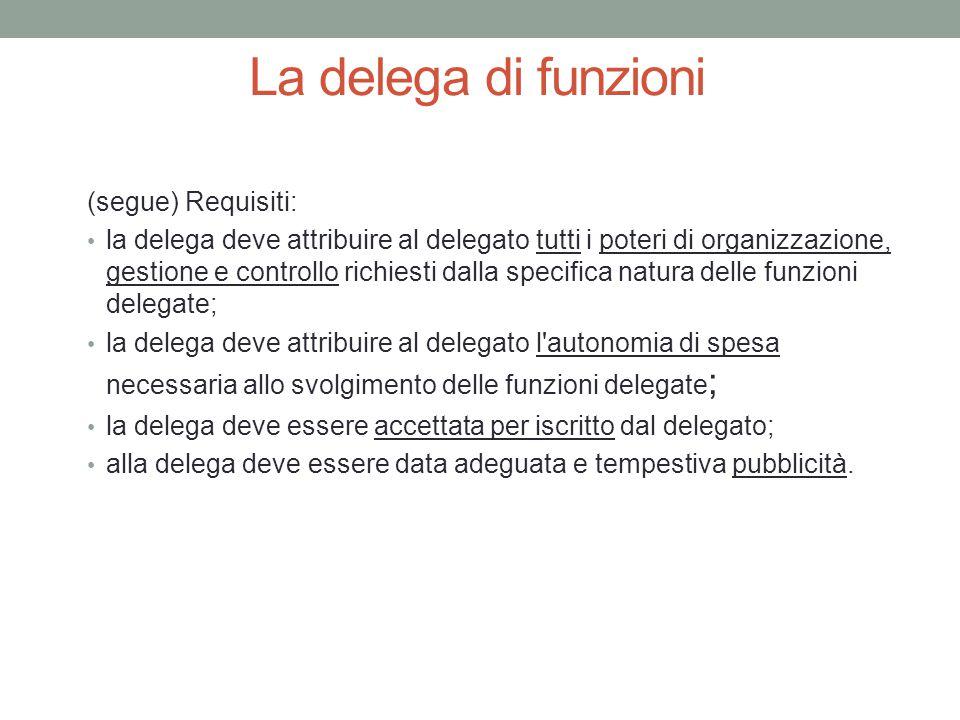 La delega di funzioni (segue) Requisiti: