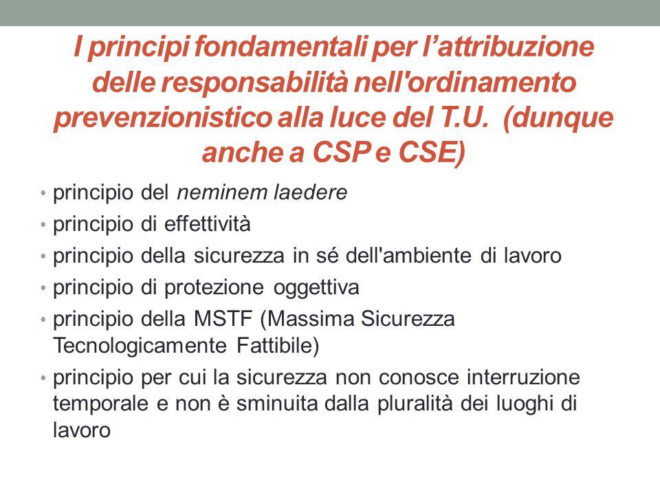 I principi fondamentali per l'attribuzione delle responsabilità nell ordinamento prevenzionistico alla luce del T.U. (dunque anche a CSP e CSE)