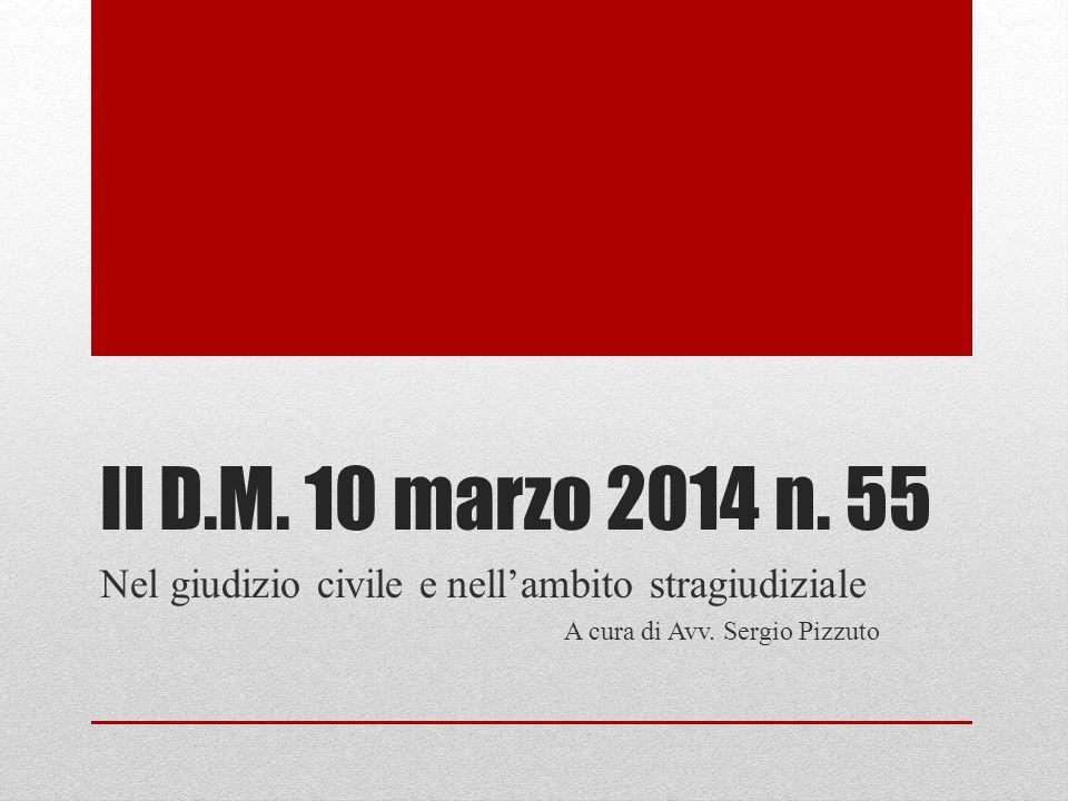Il D.M. 10 marzo 2014 n. 55 Nel giudizio civile e nell'ambito stragiudiziale.