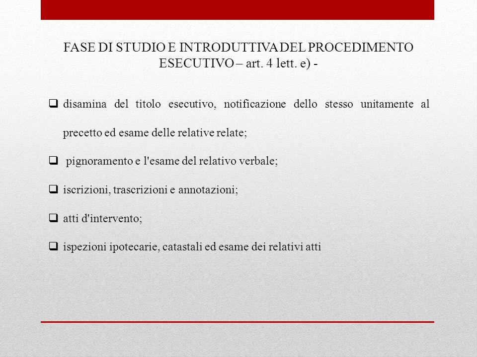 Fase di studio e introduttiva del procedimento esecutivo – art. 4 lett