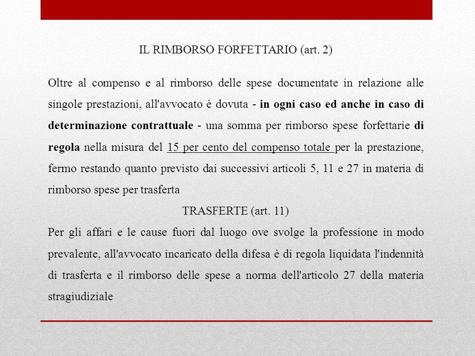 IL RIMBORSO FORFETTARIO (art. 2)