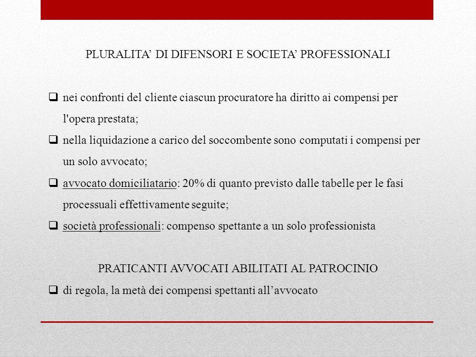 PLURALITA' DI DIFENSORI E SOCIETA' PROFESSIONALI