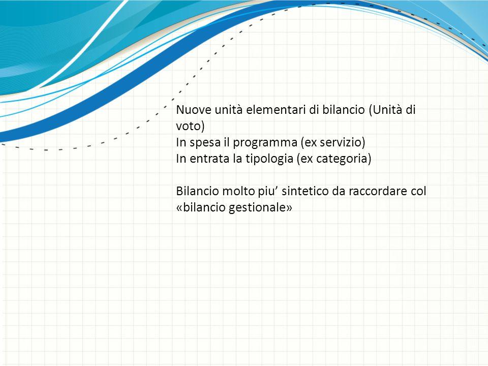 Nuove unità elementari di bilancio (Unità di voto)