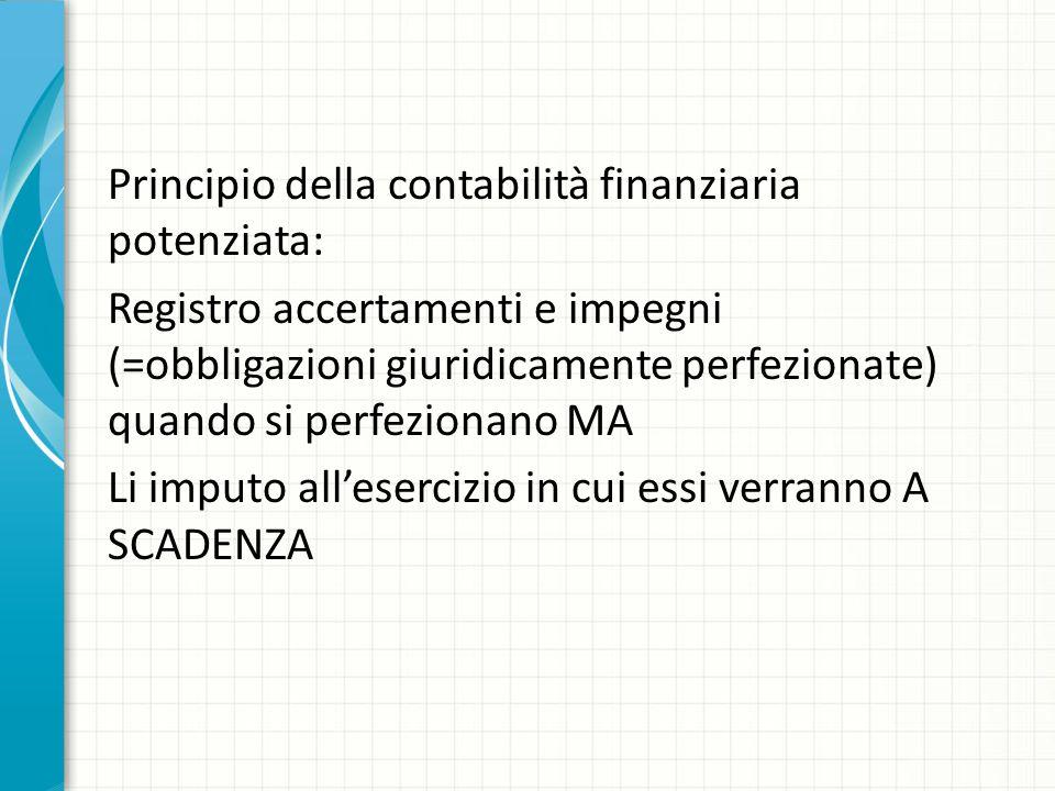 Principio della contabilità finanziaria potenziata: Registro accertamenti e impegni (=obbligazioni giuridicamente perfezionate) quando si perfezionano MA Li imputo all'esercizio in cui essi verranno A SCADENZA