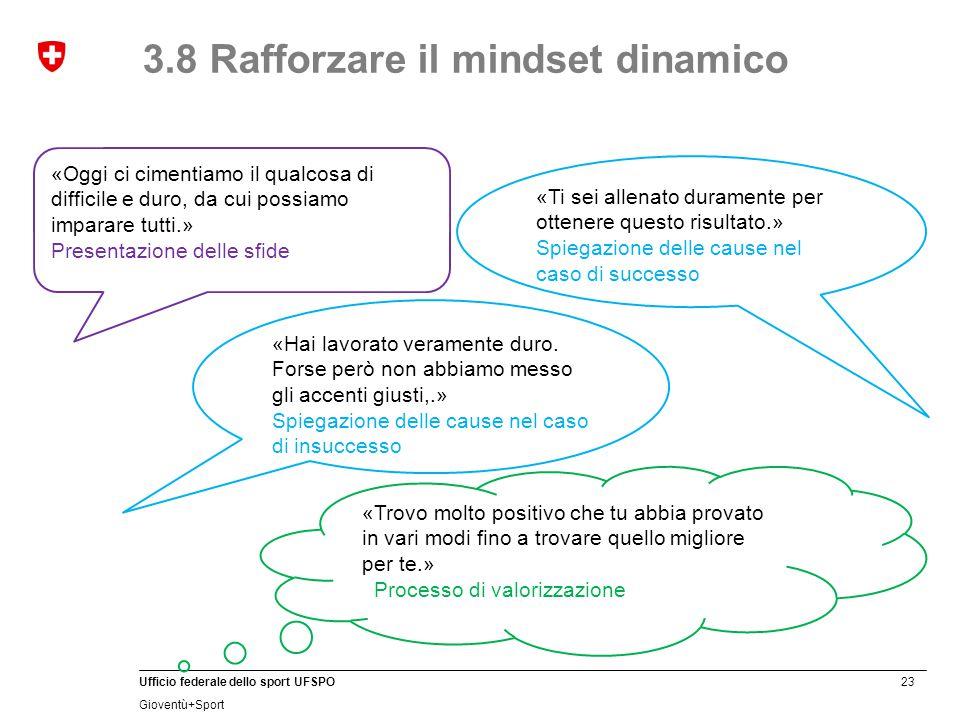 3.8 Rafforzare il mindset dinamico