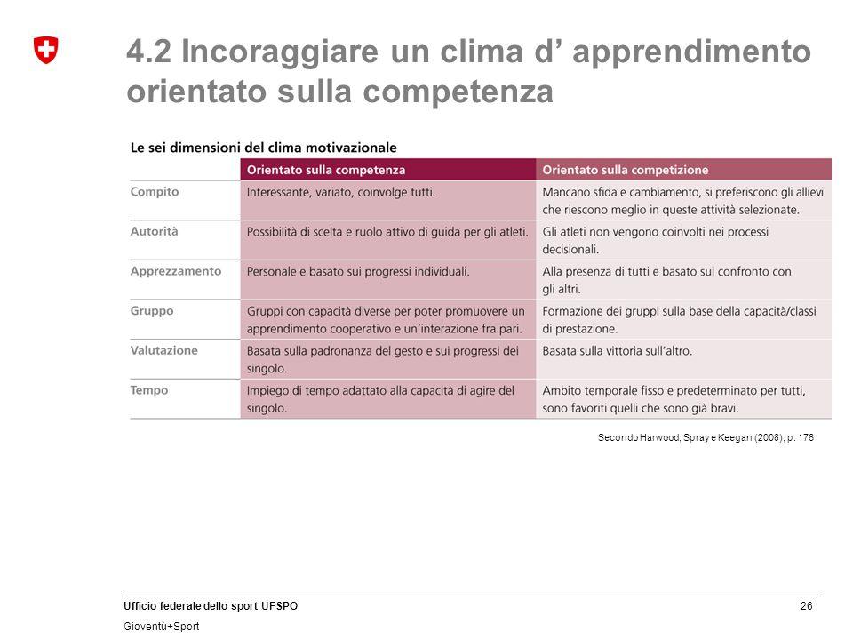 4.2 Incoraggiare un clima d' apprendimento orientato sulla competenza