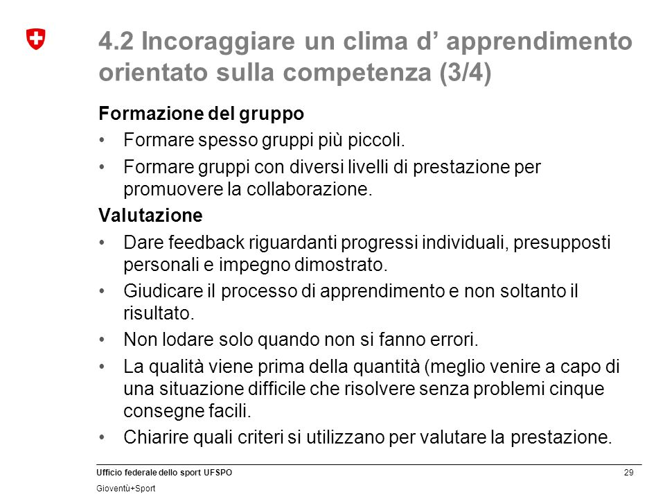 4.2 Incoraggiare un clima d' apprendimento orientato sulla competenza (3/4)