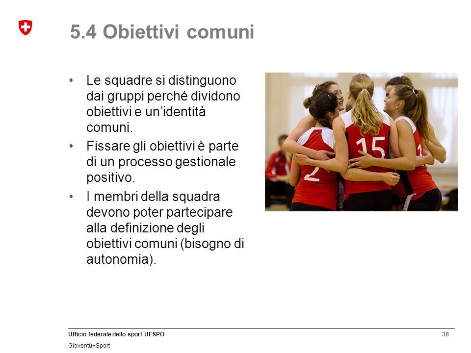 5.4 Obiettivi comuni Le squadre si distinguono dai gruppi perché dividono obiettivi e un'identità comuni.
