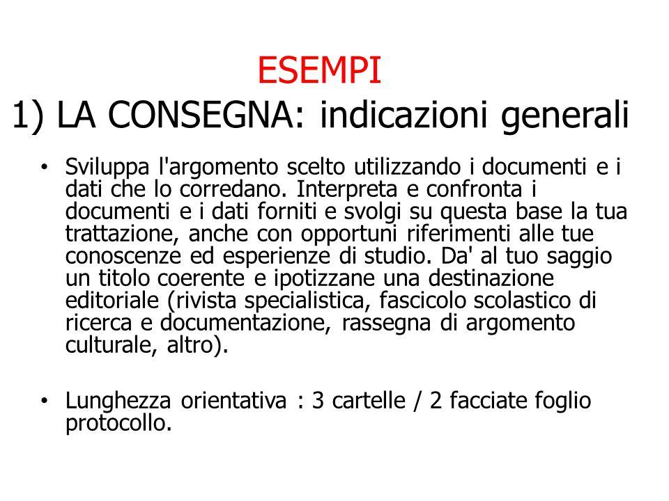 ESEMPI 1) LA CONSEGNA: indicazioni generali
