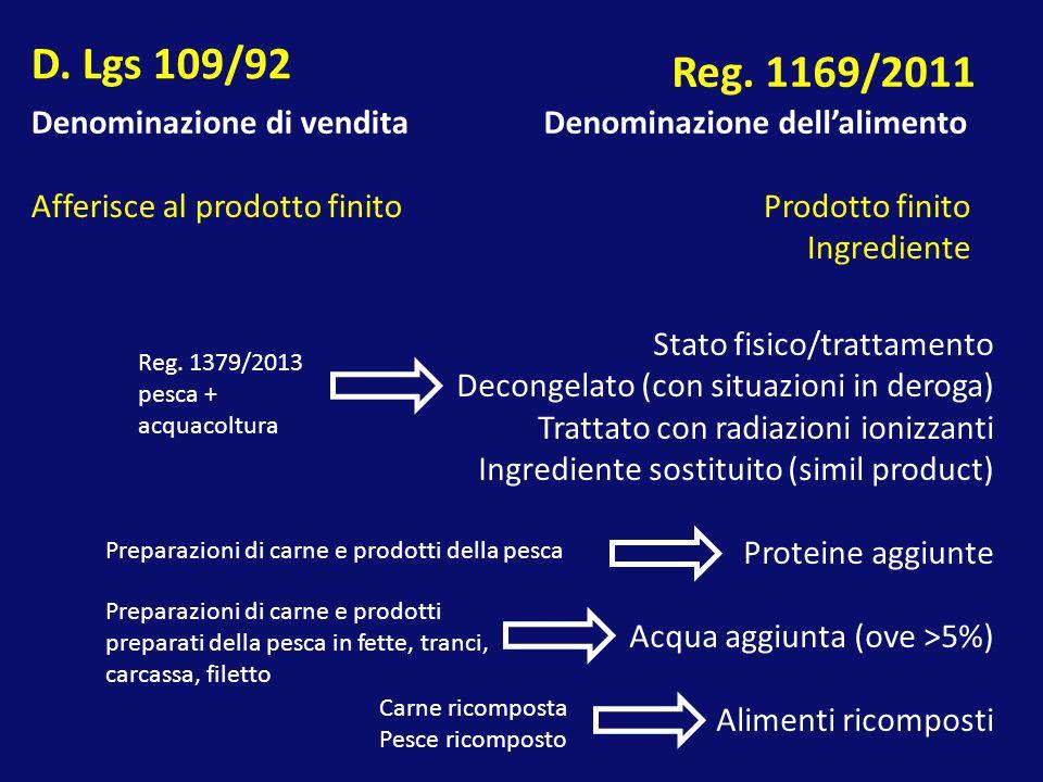D. Lgs 109/92 Reg. 1169/2011 Denominazione di vendita