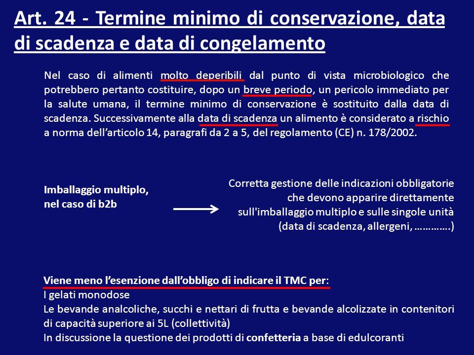 Art. 24 - Termine minimo di conservazione, data di scadenza e data di congelamento
