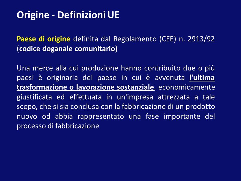 Origine - Definizioni UE