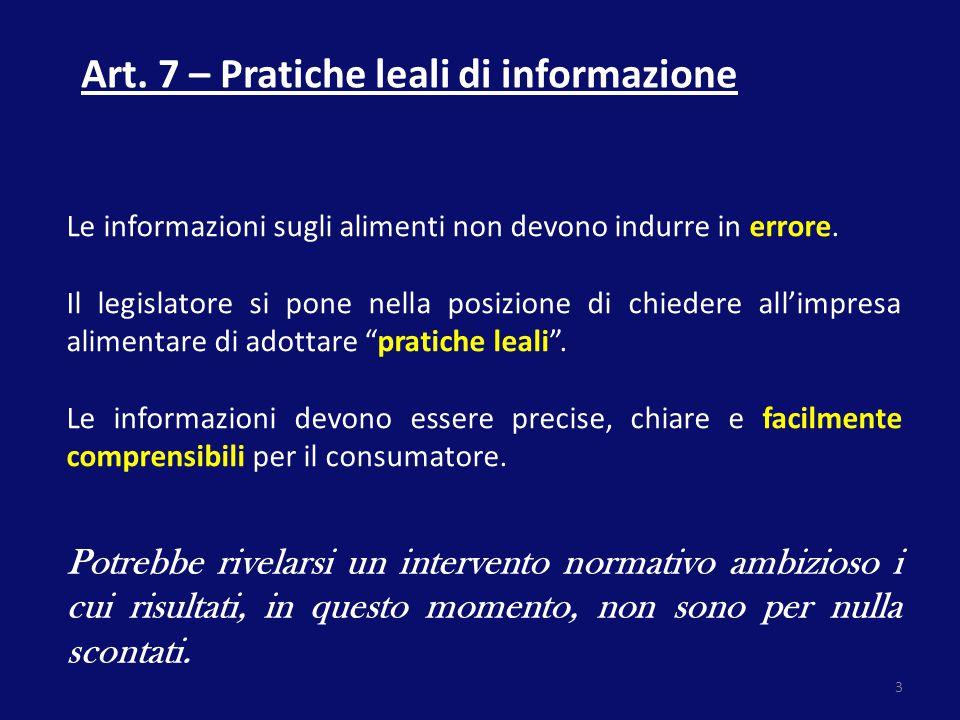 Art. 7 – Pratiche leali di informazione