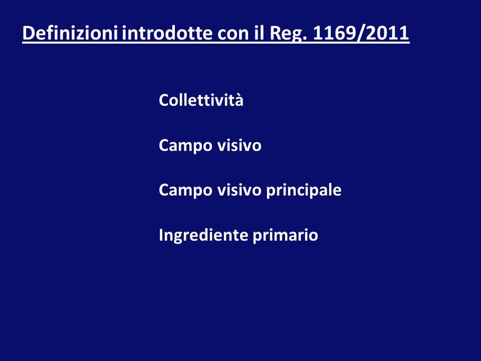 Definizioni introdotte con il Reg. 1169/2011