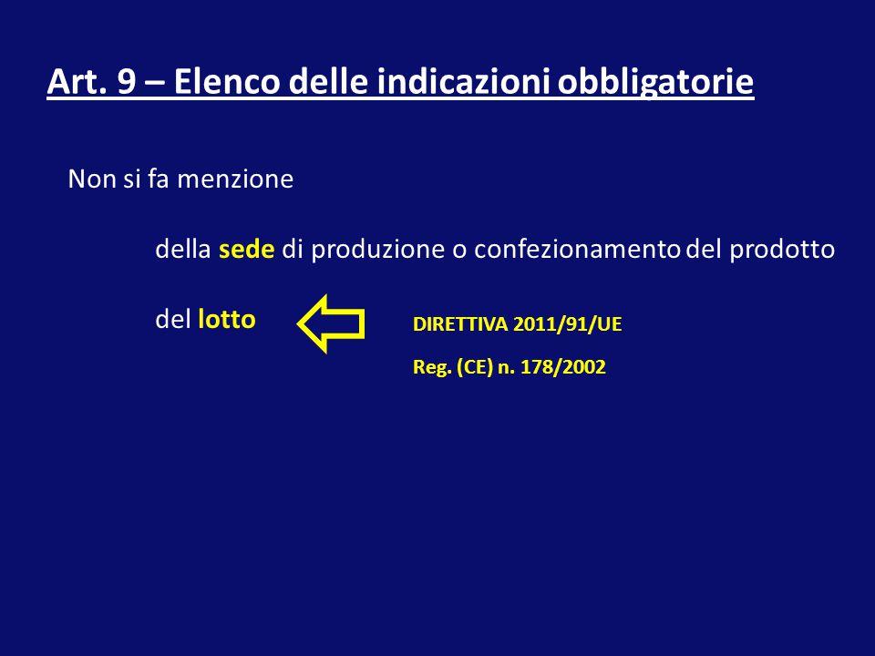 Art. 9 – Elenco delle indicazioni obbligatorie
