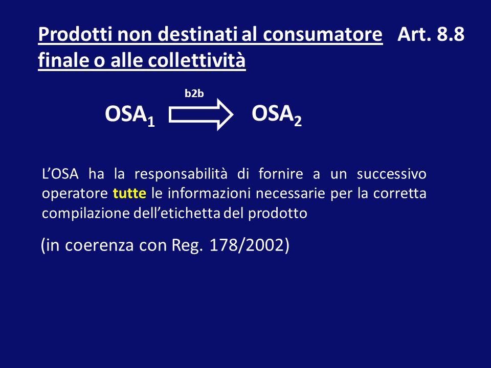 Prodotti non destinati al consumatore finale o alle collettività