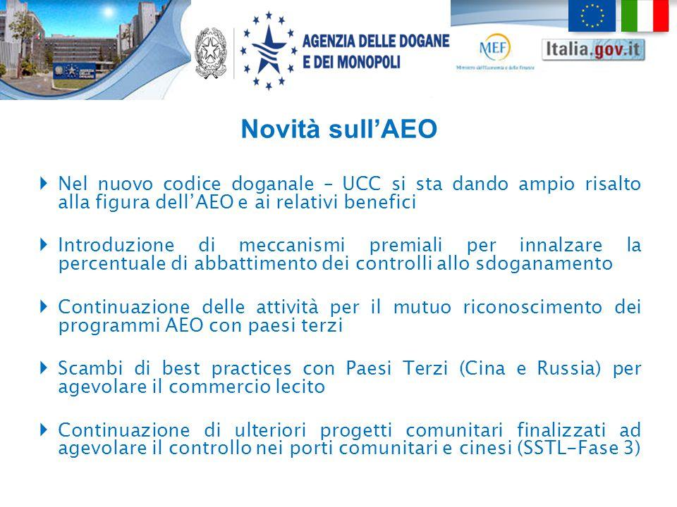 Novità sull'AEO Nel nuovo codice doganale – UCC si sta dando ampio risalto alla figura dell'AEO e ai relativi benefici.