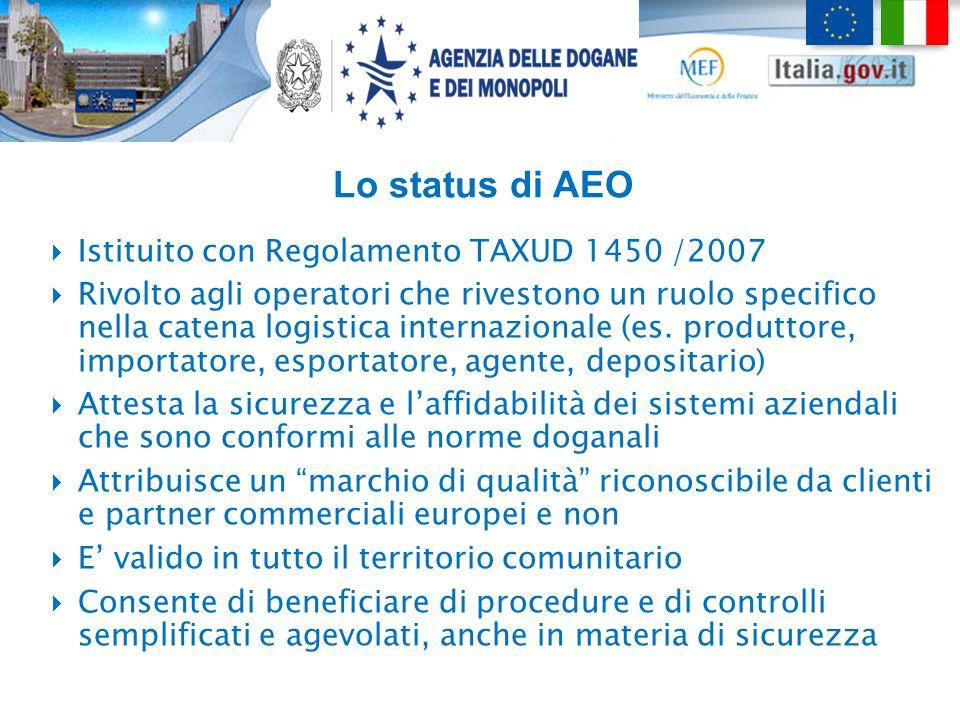 Lo status di AEO Istituito con Regolamento TAXUD 1450 /2007