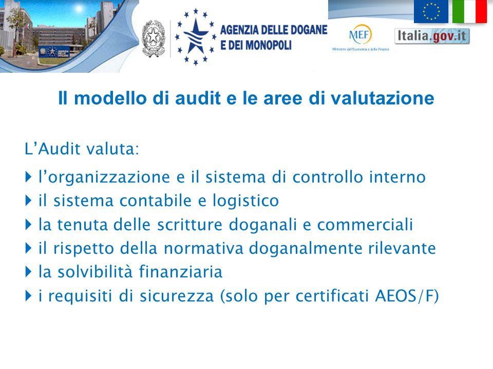 Il modello di audit e le aree di valutazione