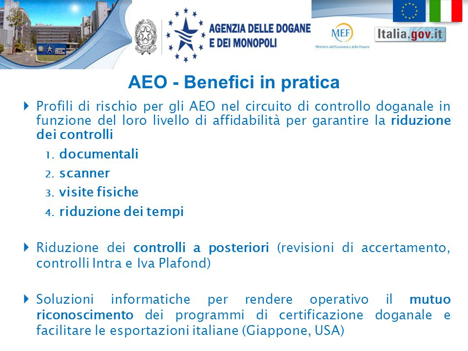 AEO - Benefici in pratica
