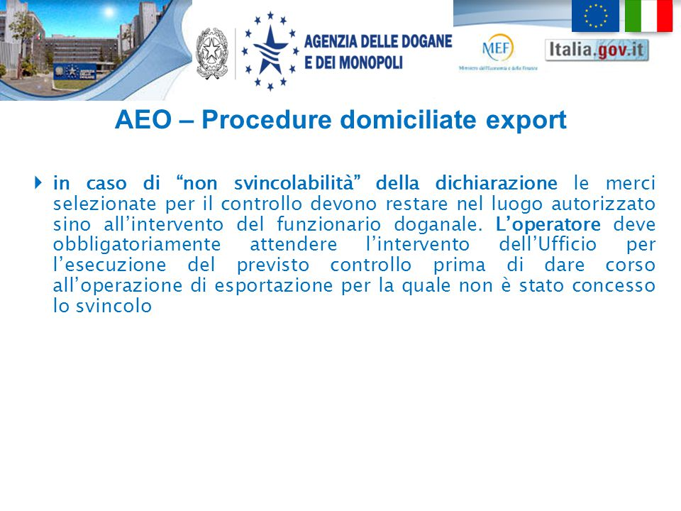 AEO – Procedure domiciliate export