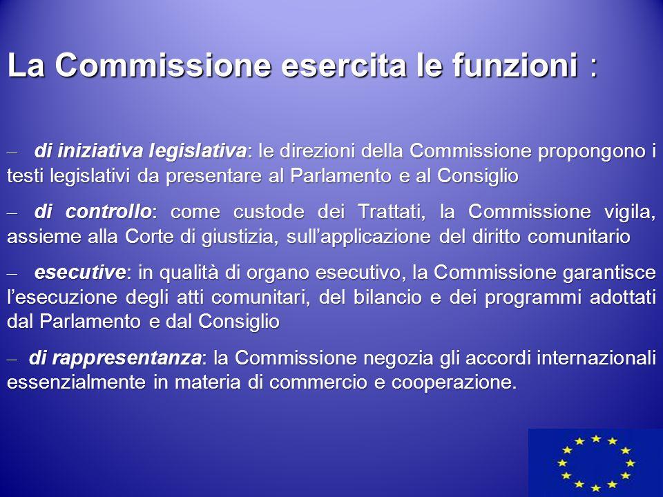 La Commissione esercita le funzioni :