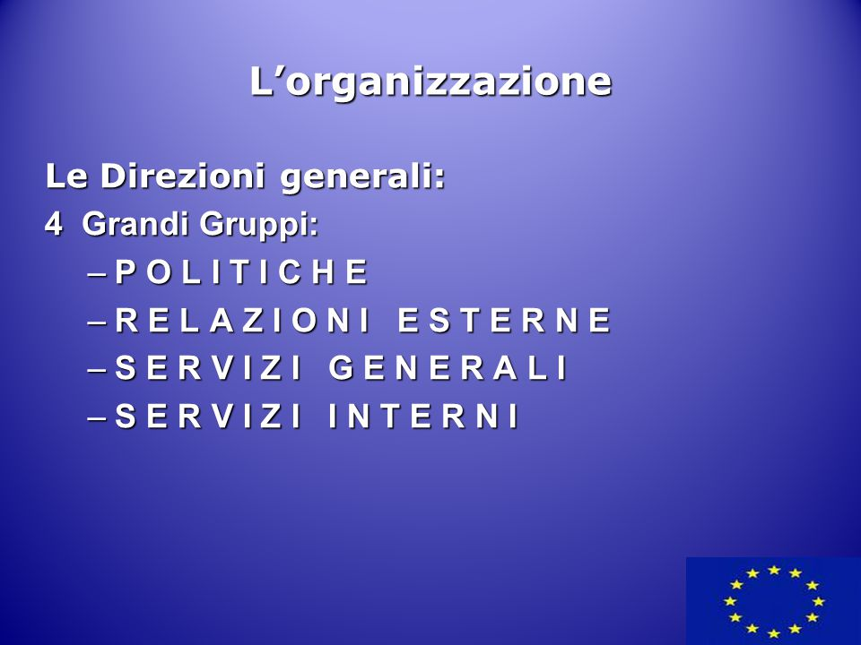 L'organizzazione Le Direzioni generali: 4 Grandi Gruppi: