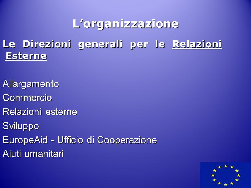 L'organizzazione Le Direzioni generali per le Relazioni Esterne