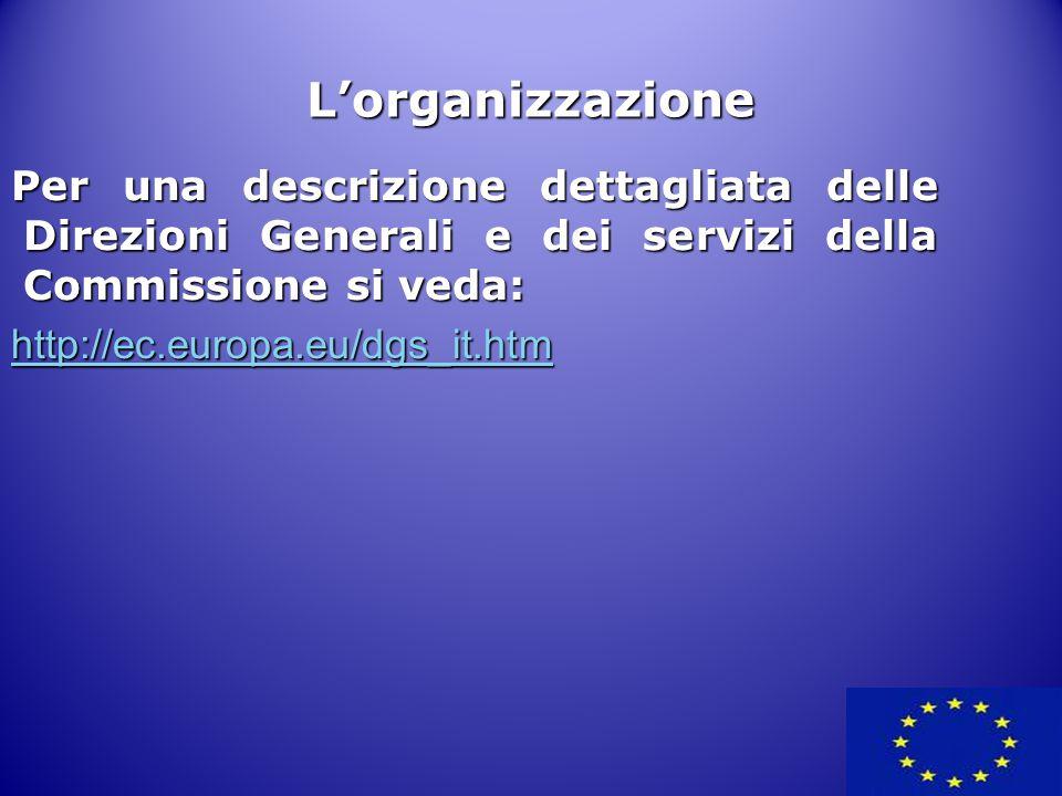 L'organizzazione Per una descrizione dettagliata delle Direzioni Generali e dei servizi della Commissione si veda: