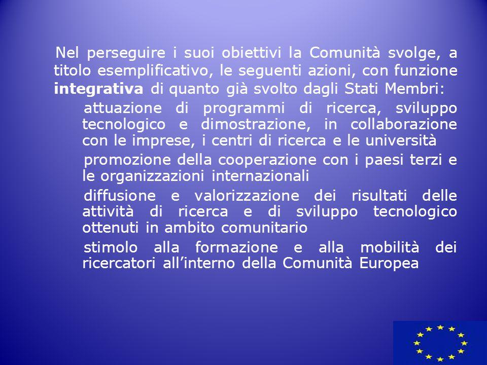 Nel perseguire i suoi obiettivi la Comunità svolge, a titolo esemplificativo, le seguenti azioni, con funzione integrativa di quanto già svolto dagli Stati Membri: