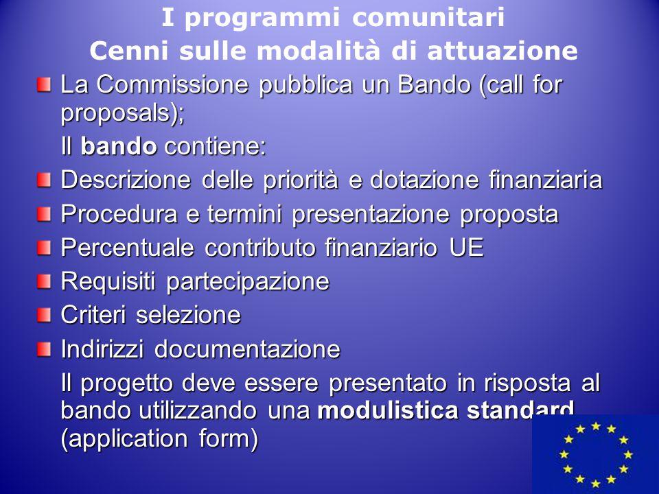 I programmi comunitari Cenni sulle modalità di attuazione