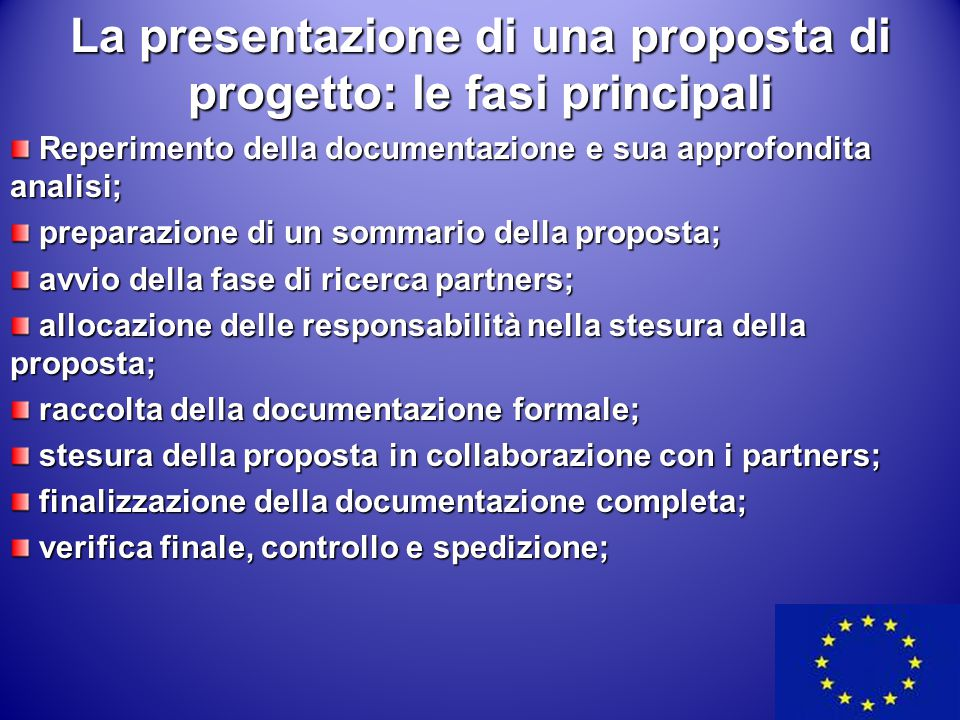 La presentazione di una proposta di progetto: le fasi principali