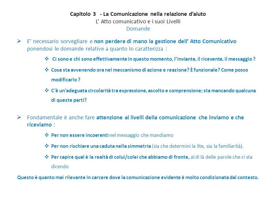Capitolo 3 - La Comunicazione nella relazione d'aiuto L' Atto comunicativo e i suoi Livelli Domande