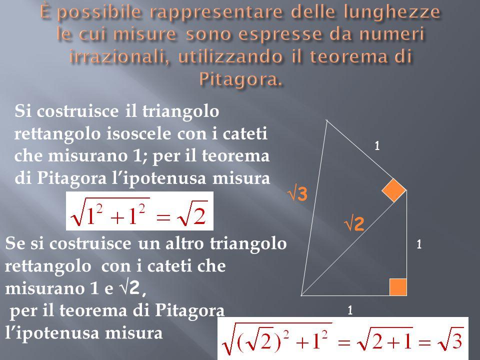 per il teorema di Pitagora l'ipotenusa misura