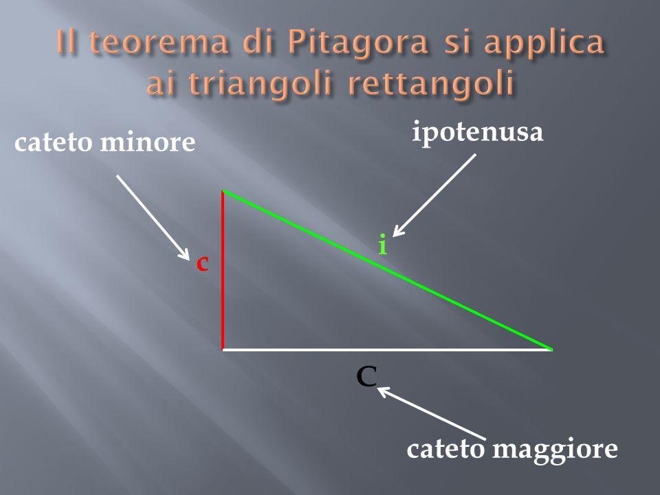 Il teorema di Pitagora si applica ai triangoli rettangoli