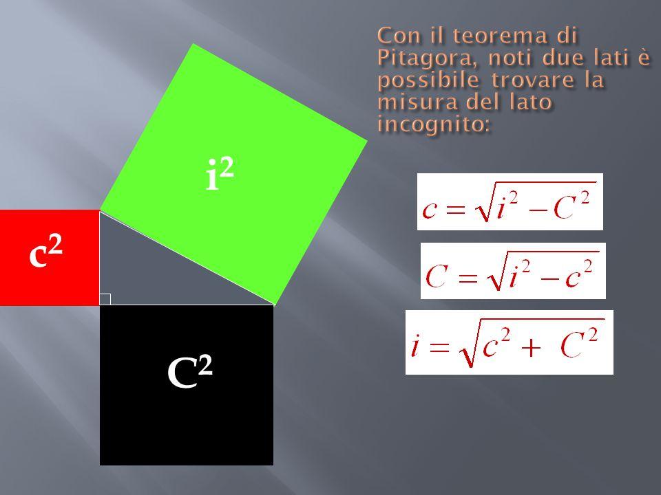 Con il teorema di Pitagora, noti due lati è possibile trovare la misura del lato incognito: