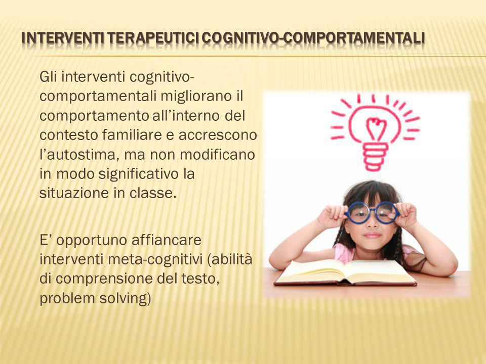 INTERVENTI TERAPEUTICI COGNITIVO-COMPORTAMENTALI