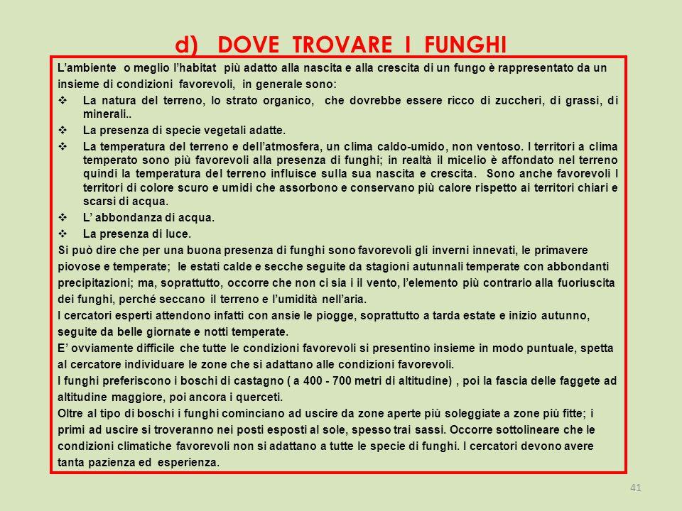 d) DOVE TROVARE I FUNGHI