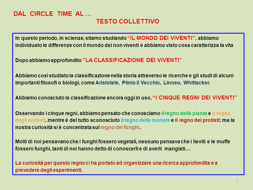 DAL CIRCLE TIME AL … TESTO COLLETTIVO