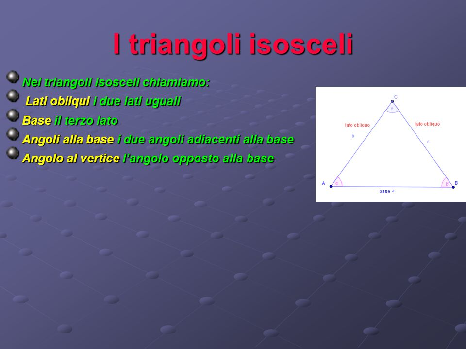 I triangoli isosceli Nei triangoli isosceli chiamiamo: