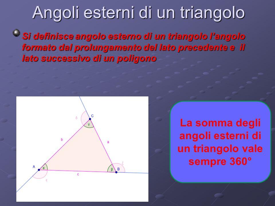 La somma degli angoli esterni di un triangolo vale sempre 360°