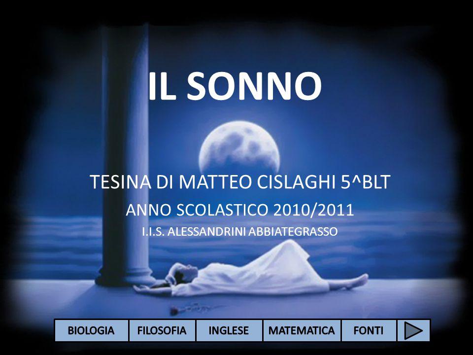 IL SONNO TESINA DI MATTEO CISLAGHI 5^BLT ANNO SCOLASTICO 2010/2011