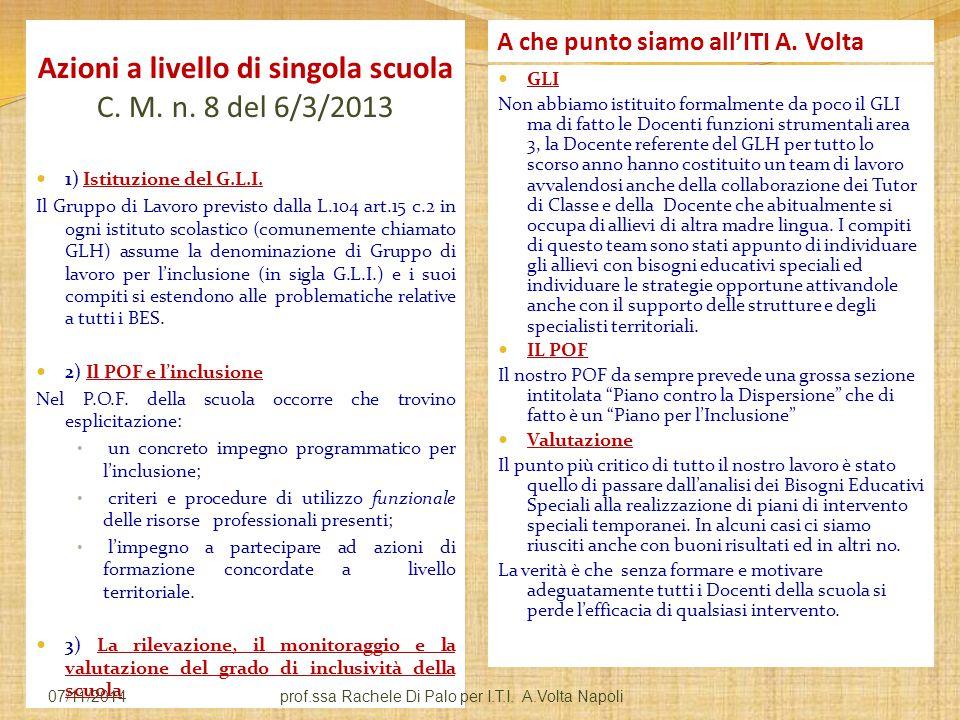 Azioni a livello di singola scuola C. M. n. 8 del 6/3/2013