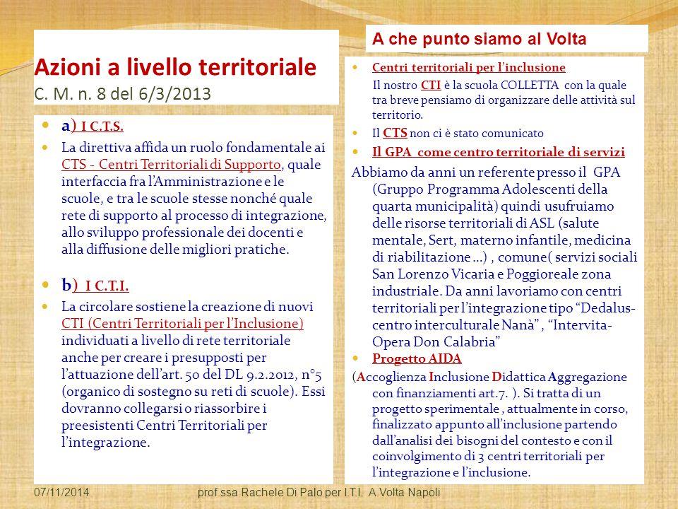 Azioni a livello territoriale C. M. n. 8 del 6/3/2013