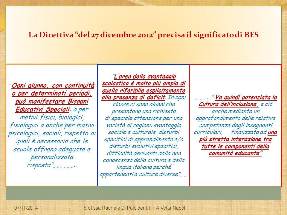 La Direttiva del 27 dicembre 2012 precisa il significato di BES