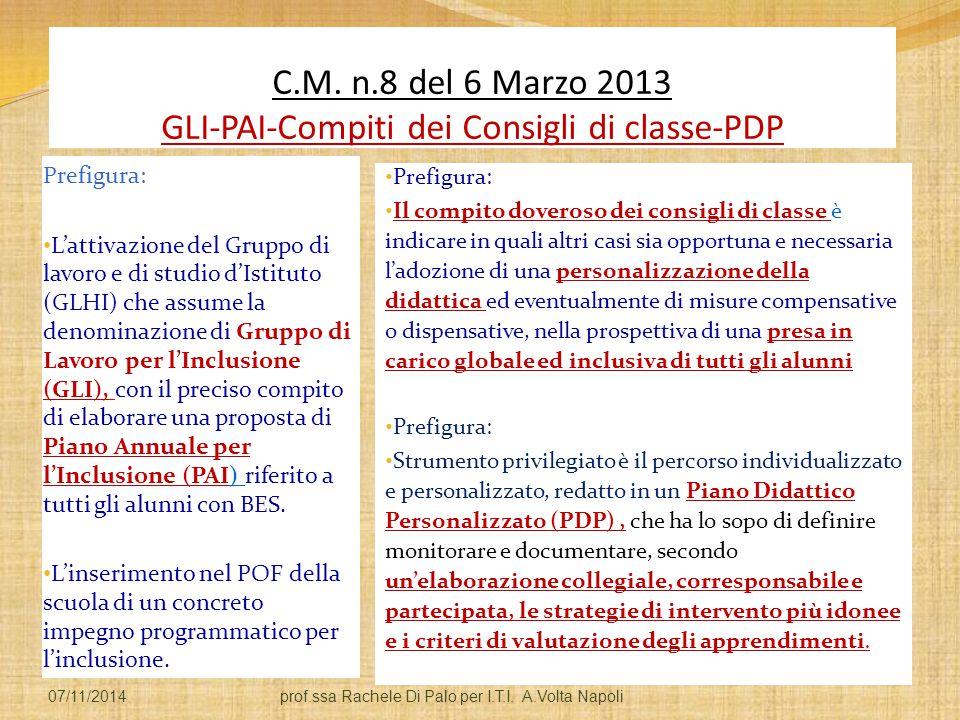 C.M. n.8 del 6 Marzo 2013 GLI-PAI-Compiti dei Consigli di classe-PDP