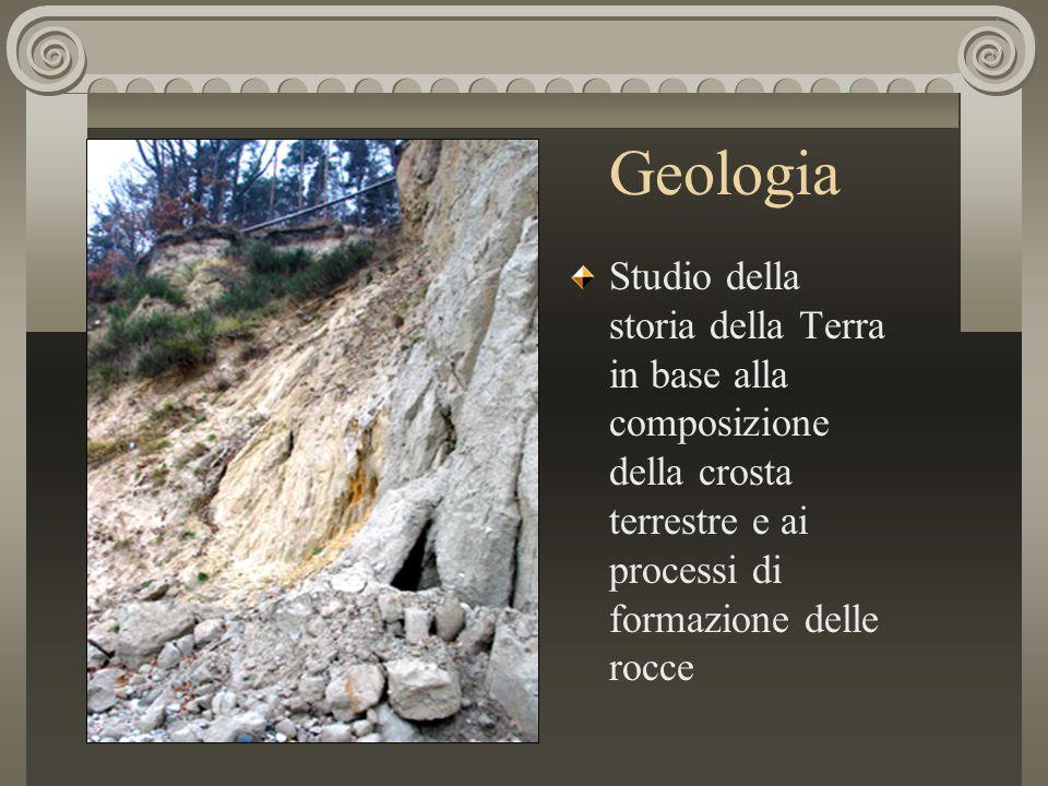 Geologia Studio della storia della Terra in base alla composizione della crosta terrestre e ai processi di formazione delle rocce.